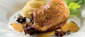 Cosce di anatra al miele e aceto balsamico, purè di sedano rapa