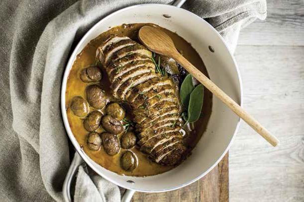 Filetto di maiale con alloro e castagne marinato nel vino cotto