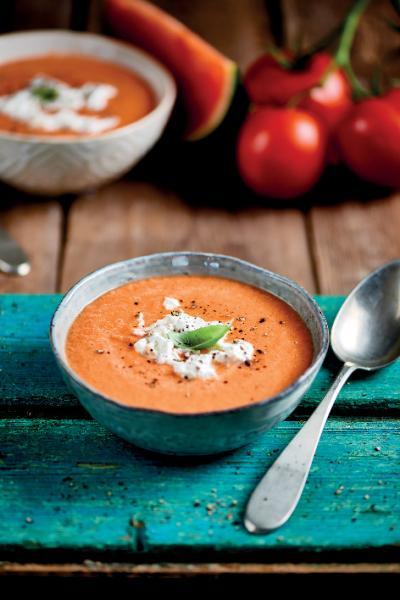Zuppa fredda al pomodoro e cocomero
